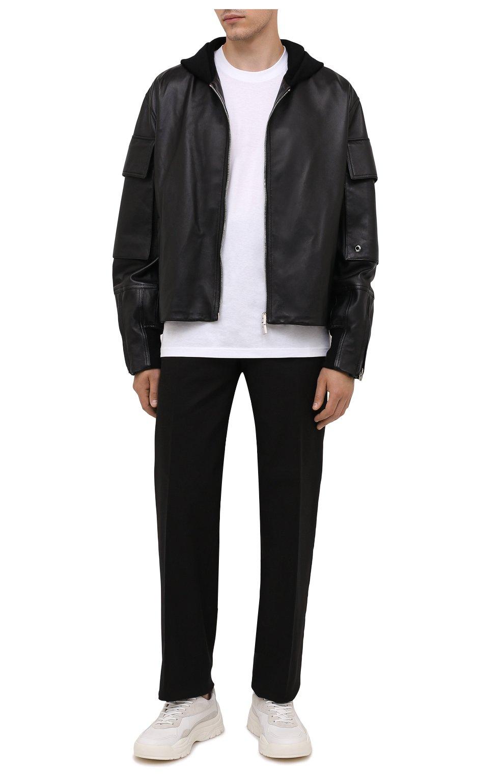 Мужская кожаная куртка GIVENCHY черного цвета, арт. BM00QP6003   Фото 2 (Кросс-КТ: Куртка; Рукава: Длинные; Стили: Панк; Мужское Кросс-КТ: Кожа и замша; Длина (верхняя одежда): Короткие; Материал подклада: Купро)