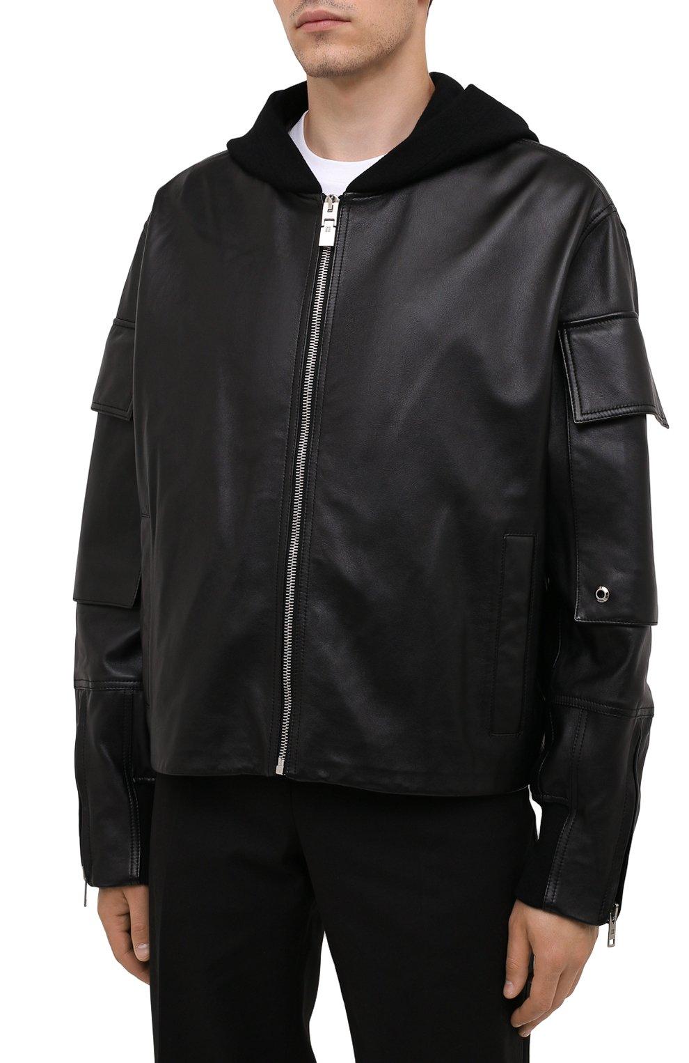 Мужская кожаная куртка GIVENCHY черного цвета, арт. BM00QP6003   Фото 3 (Кросс-КТ: Куртка; Рукава: Длинные; Стили: Панк; Мужское Кросс-КТ: Кожа и замша; Длина (верхняя одежда): Короткие; Материал подклада: Купро)
