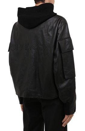Мужская кожаная куртка GIVENCHY черного цвета, арт. BM00QP6003   Фото 4 (Кросс-КТ: Куртка; Рукава: Длинные; Стили: Панк; Мужское Кросс-КТ: Кожа и замша; Длина (верхняя одежда): Короткие; Материал подклада: Купро)
