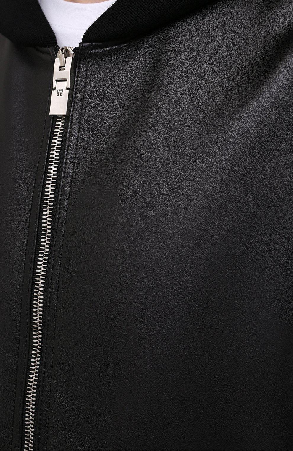 Мужская кожаная куртка GIVENCHY черного цвета, арт. BM00QP6003   Фото 5 (Кросс-КТ: Куртка; Рукава: Длинные; Стили: Панк; Мужское Кросс-КТ: Кожа и замша; Длина (верхняя одежда): Короткие; Материал подклада: Купро)