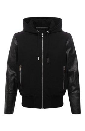 Мужской комбинированный бомбер GIVENCHY черного цвета, арт. BM00QL611V | Фото 1 (Материал внешний: Вискоза; Длина (верхняя одежда): Короткие; Рукава: Длинные; Материал подклада: Купро; Кросс-КТ: Куртка; Принт: Без принта; Стили: Панк)