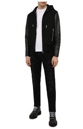 Мужской комбинированный бомбер GIVENCHY черного цвета, арт. BM00QL611V | Фото 2 (Материал внешний: Вискоза; Длина (верхняя одежда): Короткие; Рукава: Длинные; Материал подклада: Купро; Кросс-КТ: Куртка; Принт: Без принта; Стили: Панк)