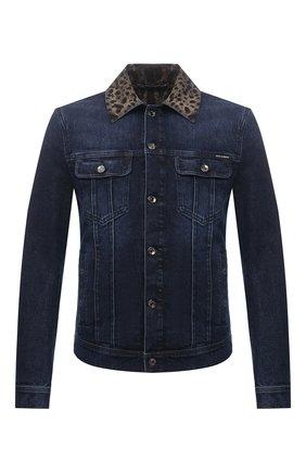 Мужская джинсовая куртка DOLCE & GABBANA синего цвета, арт. G9VZ8D/G8EI2 | Фото 1 (Рукава: Длинные; Материал внешний: Хлопок; Длина (верхняя одежда): Короткие; Кросс-КТ: Куртка, Деним; Стили: Кэжуэл)
