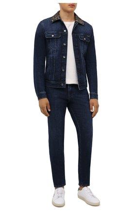 Мужская джинсовая куртка DOLCE & GABBANA синего цвета, арт. G9VZ8D/G8EI2 | Фото 2 (Рукава: Длинные; Материал внешний: Хлопок; Длина (верхняя одежда): Короткие; Кросс-КТ: Куртка, Деним; Стили: Кэжуэл)