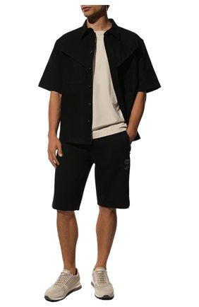 Мужские хлопковые шорты DOLCE & GABBANA черного цвета, арт. GWJWAZ/HU7H9 | Фото 2 (Материал внешний: Хлопок; Длина Шорты М: Ниже колена; Кросс-КТ: Трикотаж; Принт: Без принта; Стили: Спорт-шик)