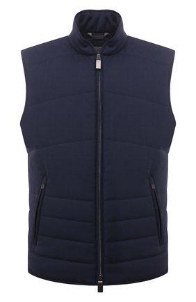 Мужской утепленный жилет CANALI темно-синего цвета, арт. 040645/SR01620   Фото 1 (Длина (верхняя одежда): Короткие; Материал внешний: Шерсть; Материал подклада: Синтетический материал; Кросс-КТ: Куртка; Стили: Кэжуэл)