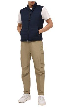 Мужской утепленный жилет CANALI темно-синего цвета, арт. 040645/SR01620   Фото 2 (Длина (верхняя одежда): Короткие; Материал внешний: Шерсть; Материал подклада: Синтетический материал; Кросс-КТ: Куртка; Стили: Кэжуэл)