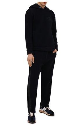 Мужские брюки из шерсти и кашемира GIORGIO ARMANI темно-синего цвета, арт. 6KSP55/SJVEZ | Фото 2 (Длина (брюки, джинсы): Стандартные; Материал внешний: Кашемир, Шерсть; Случай: Повседневный; Стили: Кэжуэл)