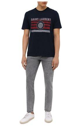 Мужская хлопковая футболка SAINT LAURENT темно-синего цвета, арт. 668818/YB2UH | Фото 2 (Длина (для топов): Стандартные; Рукава: Короткие; Материал внешний: Хлопок; Принт: С принтом; Стили: Кэжуэл)