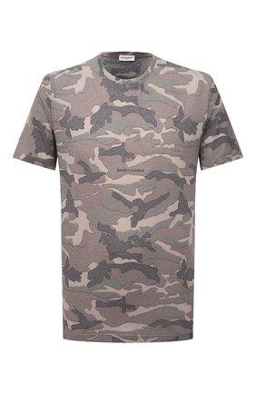 Мужская футболка SAINT LAURENT хаки цвета, арт. 667316/Y36IT | Фото 1