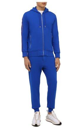 Мужские хлопковые джоггеры ALEXANDER MCQUEEN синего цвета, арт. 642664/QRX75 | Фото 2
