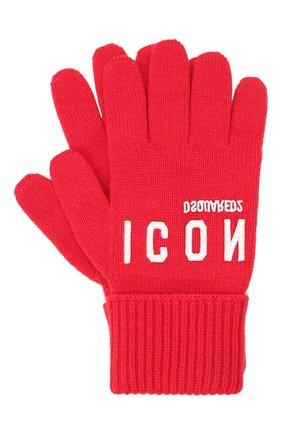 Мужские шерстяные перчатки DSQUARED2 красного цвета, арт. KNM0014 01W04331   Фото 1