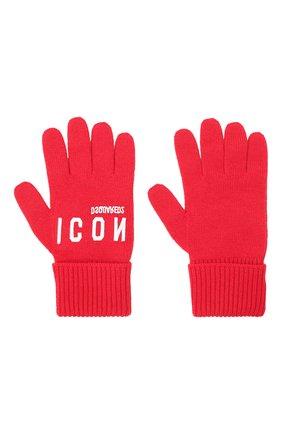 Мужские шерстяные перчатки DSQUARED2 красного цвета, арт. KNM0014 01W04331   Фото 2
