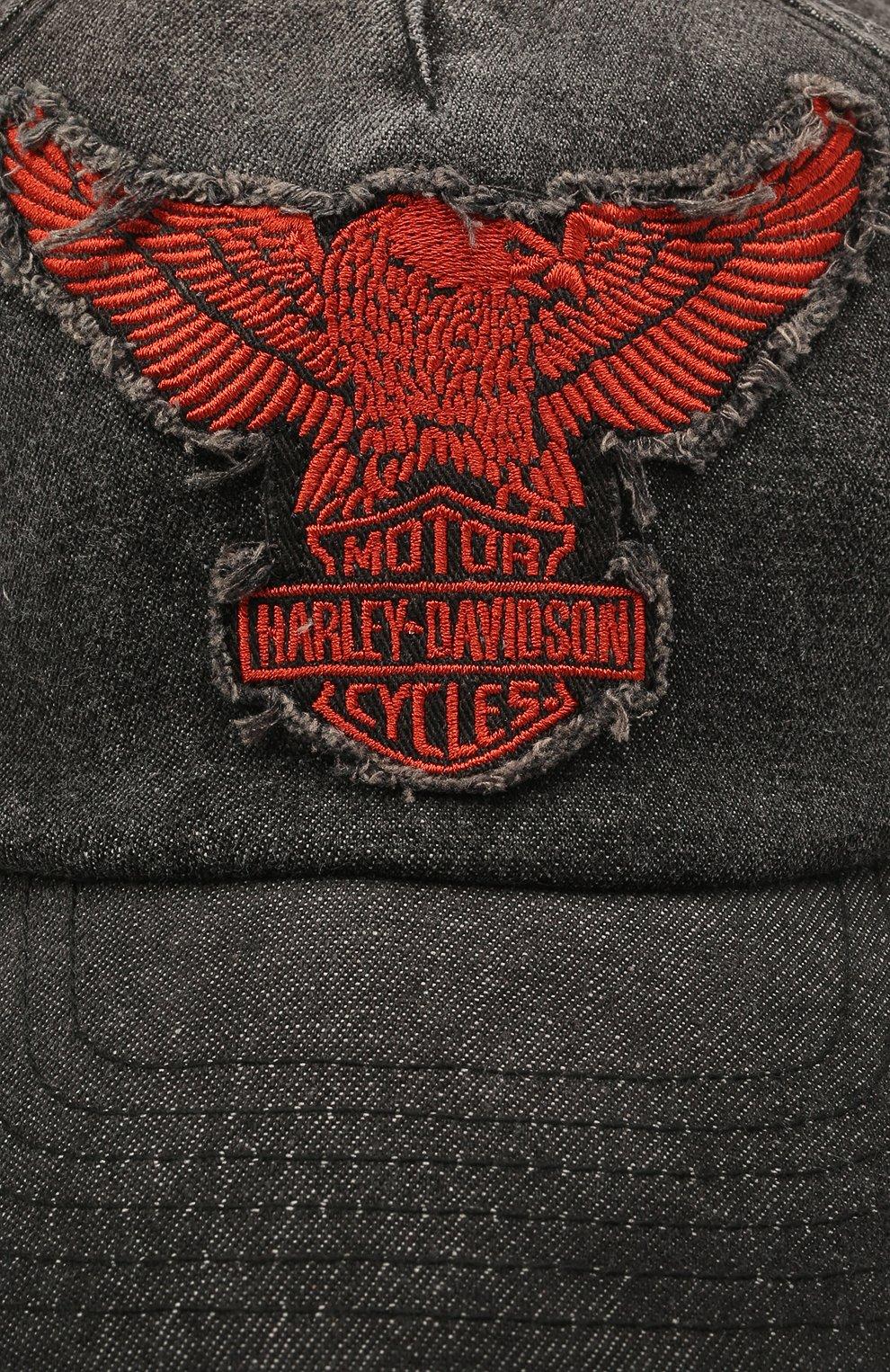Мужской хлопковая бейсболка HARLEY-DAVIDSON серого цвета, арт. 97689-21VM   Фото 3 (Материал: Текстиль, Хлопок)