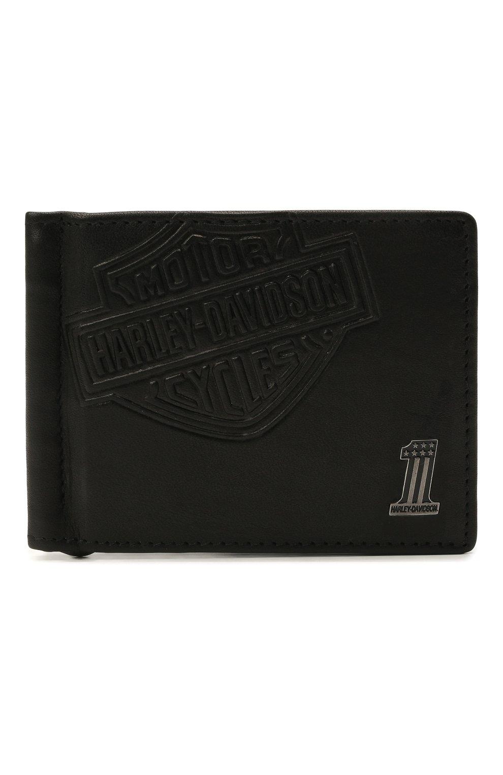 Мужской кожаный зажим для денег HARLEY-DAVIDSON черного цвета, арт. CR2375L-Black | Фото 1
