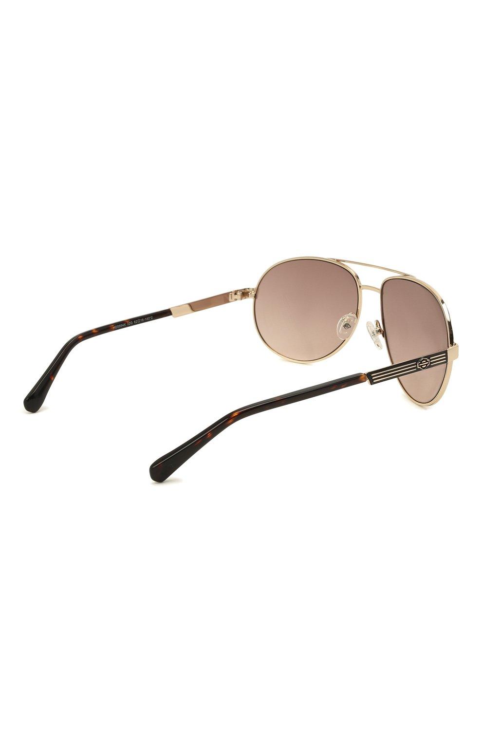 Мужские солнцезащитные очки HARLEY-DAVIDSON коричневого цвета, арт. HD 0954X 32G   Фото 4 (Тип очков: С/з; Очки форма: Авиаторы; Оптика Гендер: оптика-мужское)