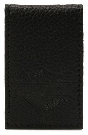 Мужской кожаный зажим для денег HARLEY-DAVIDSON черного цвета, арт. MSB8385-Black   Фото 1