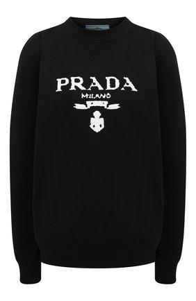 Женский хлопковый свитшот PRADA черного цвета, арт. 134631-1ZT7-F0967-202   Фото 1