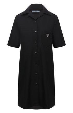 Женское платье PRADA черного цвета, арт. 230619-1WQ8-F0002-201 | Фото 1 (Материал внешний: Синтетический материал; Длина Ж (юбки, платья, шорты): Мини; Рукава: Короткие; Стили: Гламурный; Случай: Повседневный; Женское Кросс-КТ: Платье-одежда)
