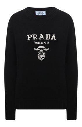 Женский свитер из шерсти и кашемира PRADA черного цвета, арт. P24G1V-1YMW-F0002-211   Фото 1