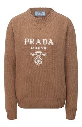 Женский свитер из шерсти и кашемира PRADA бежевого цвета, арт. P24G1V-1YMW-F0040-211   Фото 1