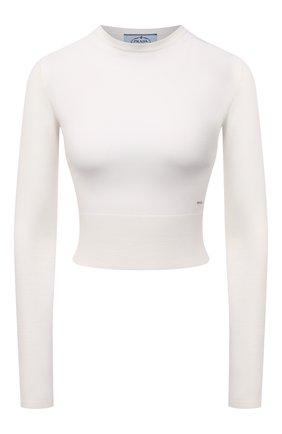 Женский шерстяной пуловер PRADA белого цвета, арт. P24I1S-1CPC-F0009-212   Фото 1