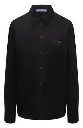 Женская хлопковая рубашка PRADA черного цвета, арт. P408F-1YY2-F0806-211   Фото 1
