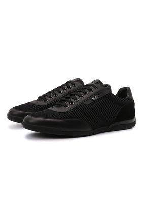 Мужские кроссовки BOSS черного цвета, арт. 50455313 | Фото 1 (Материал внешний: Текстиль; Подошва: Плоская; Стили: Спорт)