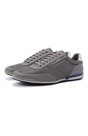 Мужские кроссовки BOSS серого цвета, арт. 50455313 | Фото 1 (Материал внешний: Текстиль; Стили: Спорт; Подошва: Плоская)