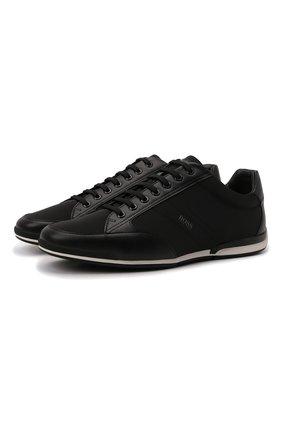 Мужские кроссовки BOSS черного цвета, арт. 50455323 | Фото 1 (Материал внешний: Текстиль; Подошва: Плоская; Стили: Спорт)