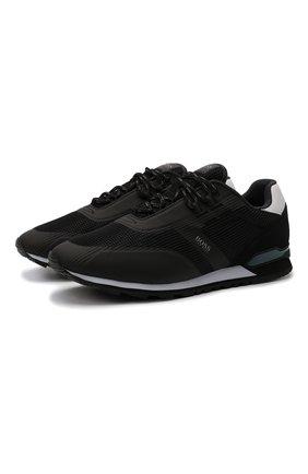 Мужские кроссовки BOSS черного цвета, арт. 50455306 | Фото 1 (Материал внешний: Текстиль; Стили: Спорт; Подошва: Массивная)
