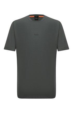 Мужская хлопковая футболка BOSS темно-зеленого цвета, арт. 50418749   Фото 1 (Материал внешний: Хлопок; Рукава: Короткие; Длина (для топов): Стандартные; Принт: Без принта; Стили: Кэжуэл)