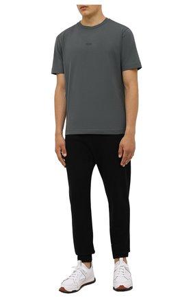 Мужская хлопковая футболка BOSS темно-зеленого цвета, арт. 50418749   Фото 2 (Материал внешний: Хлопок; Рукава: Короткие; Длина (для топов): Стандартные; Принт: Без принта; Стили: Кэжуэл)