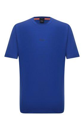 Мужская хлопковая футболка BOSS синего цвета, арт. 50418749 | Фото 1