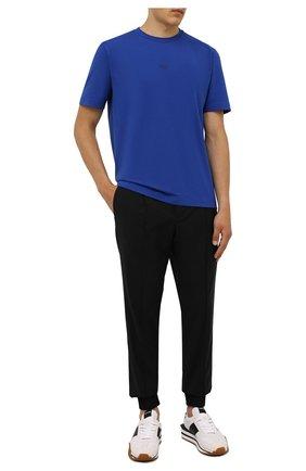 Мужская хлопковая футболка BOSS синего цвета, арт. 50418749 | Фото 2
