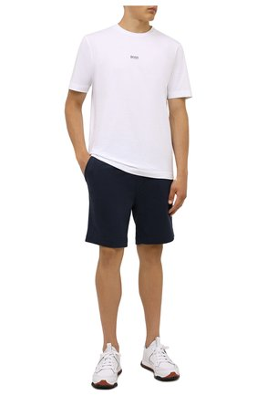 Мужская хлопковая футболка BOSS белого цвета, арт. 50418749 | Фото 2 (Материал внешний: Хлопок; Принт: Без принта; Рукава: Короткие; Стили: Кэжуэл; Длина (для топов): Стандартные)