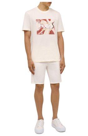 Мужские хлопковые шорты HUGO белого цвета, арт. 50449556 | Фото 2