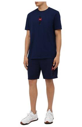 Мужские хлопковые шорты HUGO синего цвета, арт. 50454340 | Фото 2
