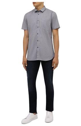Мужская хлопковая рубашка BOSS синего цвета, арт. 50453296 | Фото 2