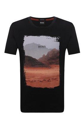 Мужская хлопковая футболка BOSS черного цвета, арт. 50453656 | Фото 1 (Материал внешний: Хлопок; Принт: С принтом; Рукава: Короткие; Стили: Кэжуэл; Длина (для топов): Стандартные)