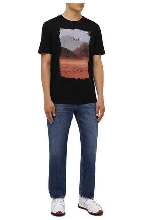 Мужская хлопковая футболка BOSS черного цвета, арт. 50453656 | Фото 2 (Материал внешний: Хлопок; Принт: С принтом; Рукава: Короткие; Стили: Кэжуэл; Длина (для топов): Стандартные)