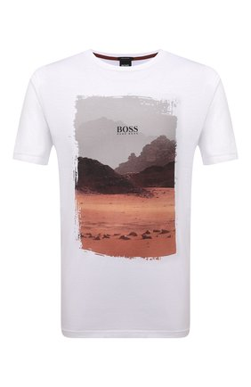 Мужская хлопковая футболка BOSS белого цвета, арт. 50453656 | Фото 1 (Материал внешний: Хлопок; Принт: С принтом; Рукава: Короткие; Стили: Кэжуэл; Длина (для топов): Стандартные)