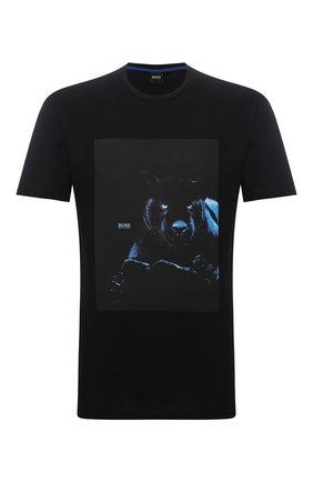 Мужская хлопковая футболка BOSS черного цвета, арт. 50453648 | Фото 1 (Материал внешний: Хлопок; Принт: С принтом; Рукава: Короткие; Стили: Кэжуэл; Длина (для топов): Стандартные)