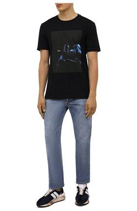 Мужская хлопковая футболка BOSS черного цвета, арт. 50453648 | Фото 2 (Материал внешний: Хлопок; Принт: С принтом; Рукава: Короткие; Стили: Кэжуэл; Длина (для топов): Стандартные)