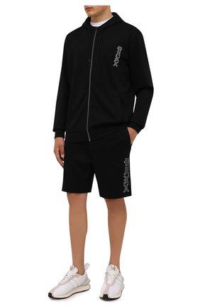 Мужские хлопковые шорты HUGO черного цвета, арт. 50456851 | Фото 2