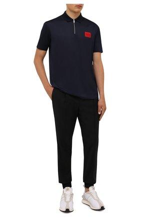 Мужское хлопковое поло HUGO синего цвета, арт. 50458180 | Фото 2