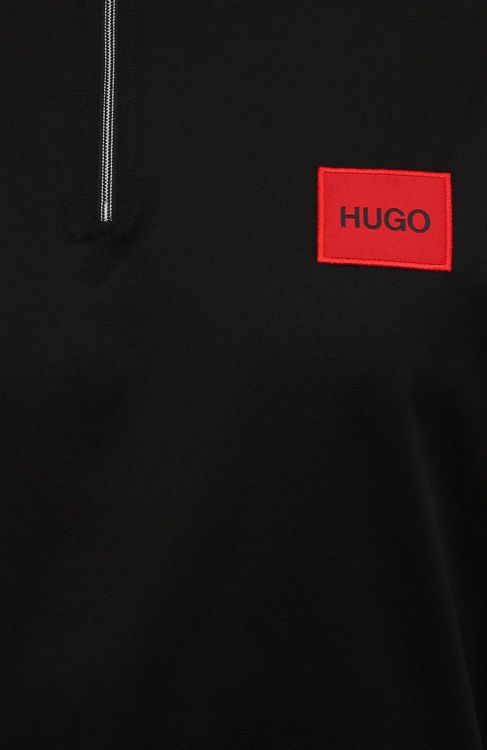 Мужское хлопковое поло HUGO черного цвета, арт. 50458180 | Фото 5 (Застежка: Молния; Рукава: Короткие; Длина (для топов): Стандартные; Материал внешний: Хлопок; Стили: Кэжуэл)