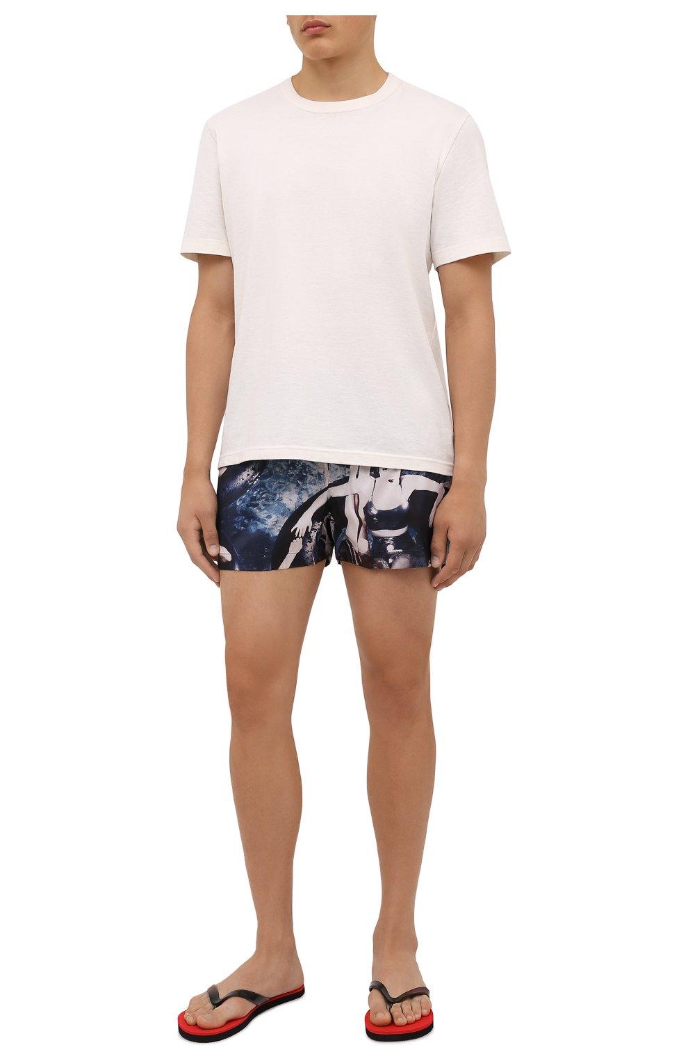 Мужские плавки-шорты LIMITATO синего цвета, арт. SINNERS/SWIMTRUNKS   Фото 2 (Материал внешний: Синтетический материал; Принт: С принтом; Мужское Кросс-КТ: плавки-шорты)