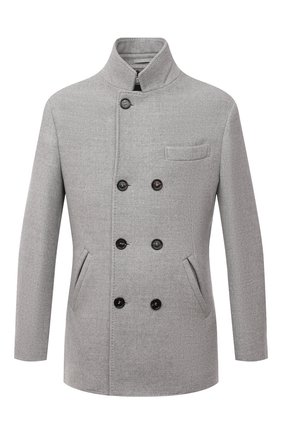 Мужской шерстяное пальто BRUNELLO CUCINELLI серого цвета, арт. MQ4217003 | Фото 1 (Материал подклада: Купро; Материал внешний: Шерсть; Мужское Кросс-КТ: пальто-верхняя одежда; Длина (верхняя одежда): Короткие; Рукава: Длинные; Стили: Кэжуэл)