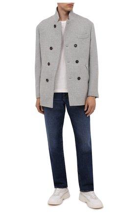 Мужской шерстяное пальто BRUNELLO CUCINELLI серого цвета, арт. MQ4217003 | Фото 2 (Материал подклада: Купро; Материал внешний: Шерсть; Мужское Кросс-КТ: пальто-верхняя одежда; Длина (верхняя одежда): Короткие; Рукава: Длинные; Стили: Кэжуэл)
